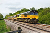 19th May 2016:  At Masters Crossing in Fairwood 66848 TnT 66847 are in charge of 6C38 from Penwithers Junction to Westbury