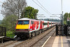 7th May 2016:  Running away from Sandal & Agbrigg is 91114 'Durham Cathedral' working 1A31 the 13.05 Leeds to Kings Cross.  82225 is the DVT on the front
