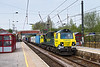 7th May 2016:  The Saturday only 4L85 from Leeds FLT tio Ipswich with 70002 at the helm at South Emsall.  The whole train was in sun as it approached the bridge  and the tail was in full bling as it passed.  Some you just do not win.