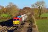 25th Now 2016:  59202 on the point of 7C77 from Acton to Merehead runs past Boynton Farm in Edington on ther Berks & Hants line