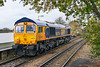 18th Nov 2016:  66774 runs through Warminster as it makes for Westbury.  0V40 will power 6M40 to Stud Farm later in the morning