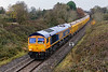 23rd Nov 2016:  66778 is again working 6M40 from Westbury to Stud Farm to collect a fresh supply of ballast to top up the virtual quarry.  The Halt at Broughton Gifford was behind the bridge on which I was standing.  Then there  were 2 platforms but it was closed long before the line wast singled in 1968