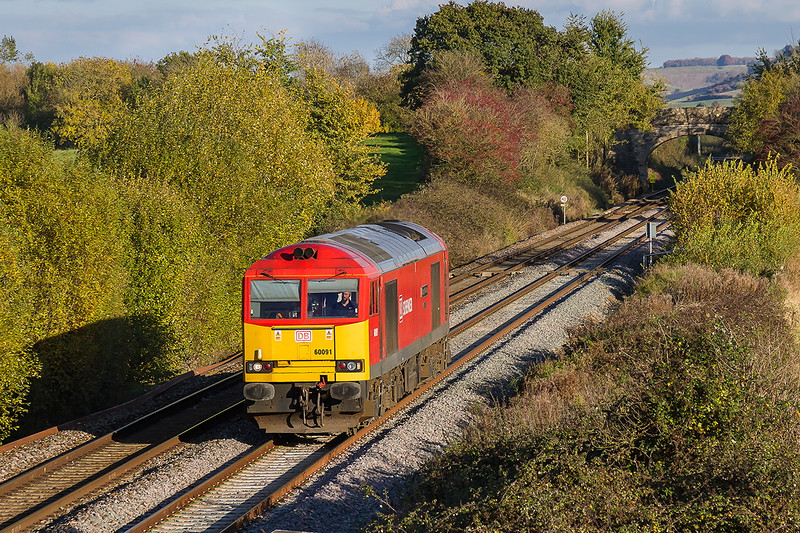 7th Nov 2016:  Sometimes  only a light engine can look quite good.  60091 is working 1Z99  believed to be to Whatley Quary where the  train to Dagenham Dock started and then went no further.  The location is Fairwood and it would have been a better picture had there been a string of wagons in tow.  It stayed at Whatley and then worked the over night stone to Theale