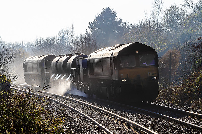 29th Nov 2016:  3J13 with the usual pair 66160 & 66238 at Dilton Marsh