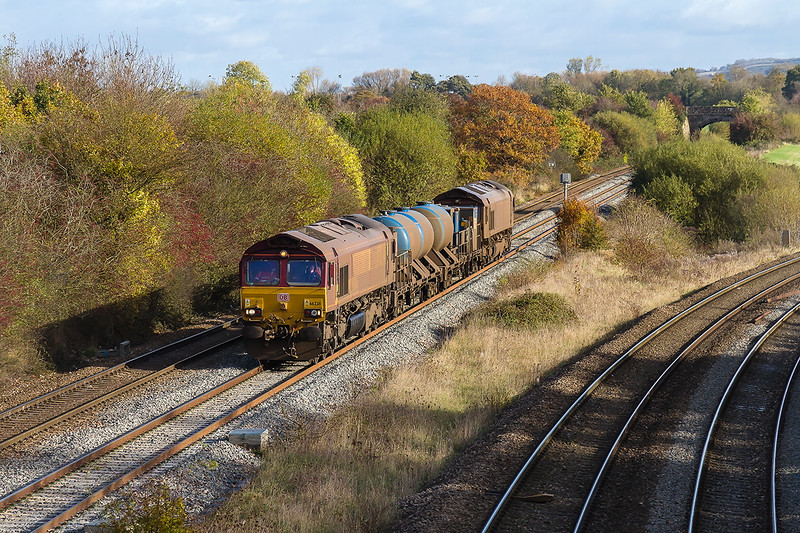 10th Nov 2016:  On the final leg  of the 3J13 duty 66238 & 66160 are nearing Fairwood Junction.  The St Blazey based RHTT set had run from Wesrbury to Salisbury and back earlier in the morning
