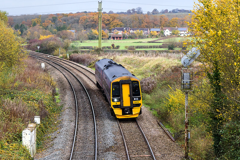 16th Nov 2016:  Nearing Hawkeridge Junction is 158766 forming 2F97 the 08.50 Great Malvern to Westbury