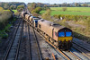 10th Nov 2016:  On the final leg  of the 3J13 duty 66238 & 66160 are crossing  Fairwood Junction.  The St Blazey based RHTT set had run from Wesbury to Salisbury and back earlier in the morning.  The spray was turned on after the train had cleared the junction