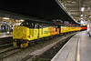 2nd Nov 2016:  5Z78 was not booked to run into the station at the end of it's  trip from Tyseley via the world  to Bristol, but it did and even stopped in a well  lit spot.  37421 is virtually spotless and the driver can be seen walking to the other end where 37025 was not so well lit. I was here for the IEP due a bit later so this was a real bonus