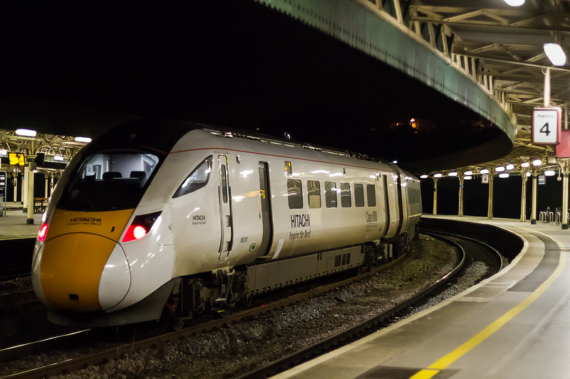 2nd Nov 2016:  800001  is the rear set on the  5X30 test train from Stoke Gifford to Plymouth.  When there it will do an out and back trip to Newton Abbo,t presumably to check if it can master the steep hills on this section.