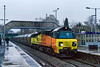 22nd Nov 2016:  At 3.30pm in terrible conditions and with the train running 3 hours late the ISO was wound up to 6400 for my first picture of a Colas 70 working a cement train. 70805 on 6C36 from Westbury Lafarge to Aberthaw runs through Trowbridge.  The word was out a month or so past that this and a Mooreswater service would run but I believe that this is the first time that it has actually happened