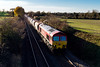 25th Nov 2016:  59206 heading East at Cpowleaze Lane in Edington with 6L21 from Whatley to Dagenham
