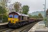 30th Oct 2016:  At a very dank Freshford iso 1600 is required to catch 66143 on the rear 6W07 powered  by 66014 from Gaer Junction to Westbury