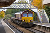 26th Oct 2016:  66089 is heading 6O41 from Westbury to Eastleigh.  THe sharp curve entering Warminster disguises the fact there were no other waggons on the train