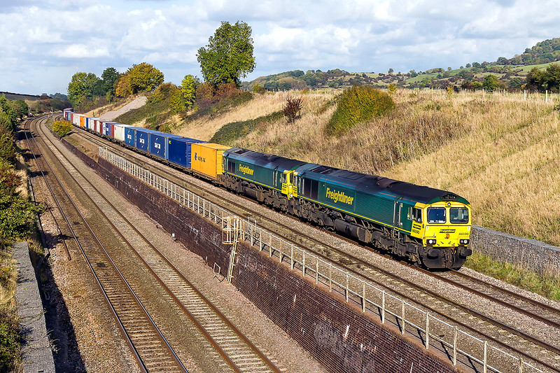 21st Oct 2016:  With the Severn Tunnel reopening after electrification works at the week end Friday was the last chance to capture the diverted via Sapperton 4O51 Wentloog to Southampton at Standish.  The real bonus was the the clouds cleaered and that douple stamps 66590 & 66570 were on the point