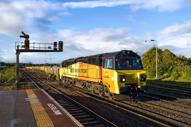 16th Oct 2016: After heavy overnight rain the skys cleared a little with a good patch coinciding with the departure of 6C24.  Powered by 70805 the 09.10 for Filton Abbey Wood gets under way at Westbury