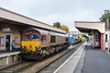 26th Oct 2016:  66160 on the tail of 3J13 RHTT service from Westbury to  St Blazey via Salisbury. It  sprays all the Westbury Salisbury lines both ways but less than 10 minutes later the Eastleigh MPV RHTT will do all the flat bit again t but not the steep bit between Warminster and Westbury.  Mmmmm!