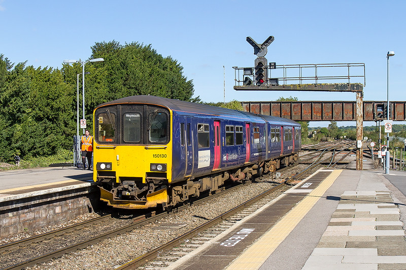 3rd Sep 2016:  The 10.42 from Gloucester to Weymouth in the hands of 150130 entering platform 2 at Westbury