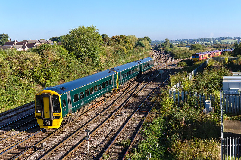 2nd Oct  2016:  With 3 sheds and two other units in the picture 158956 arrives at Westbury with 1F07 from Bristol Parkway to Portsmouth Harbour.  The DBC locos are 66144, 66176 & 66092