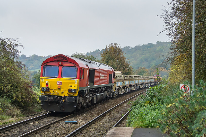 30th Oct 2016:  6 minutes after the passing of the Gaer Junction to Westbury through Freshford 66058 TnT 66114 pass working 6W10 from Cardiff Queen Street to Westbury pass through