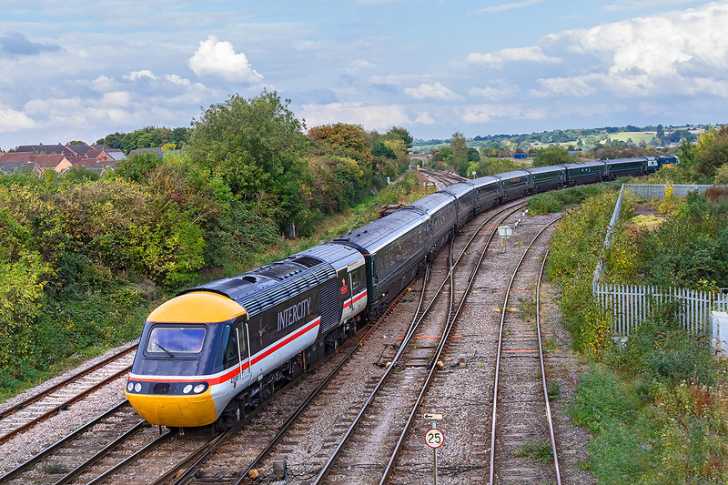 13th Oct 2016:  43185 on the rear of 1A83 the 1256 Plymouth to Paddington with 43002 on the front leaving Westbury.  Shame that the sun came out after it went out of view.