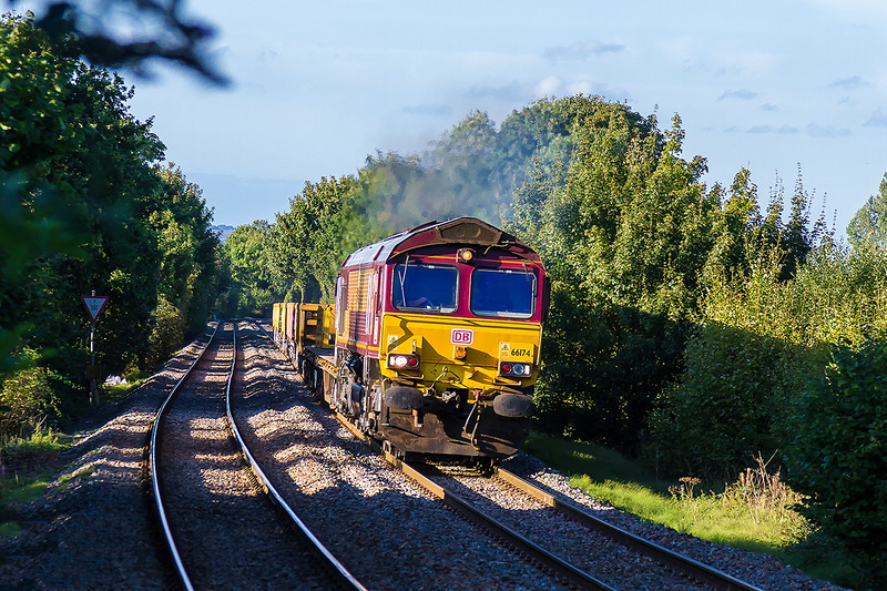 22nd Sep 2016:  66174 is going well with a light load on the climb through Dilton Marsh.  It is working 6V75 the 17.21 from Westbury to Worting