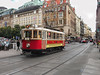 5th Sep  2016:  Running across Wenceslas Squre is vintage tram 412.  Built by Ringhoffer in 1920 it runs on special roure 91 and some times pulls a trailer car.