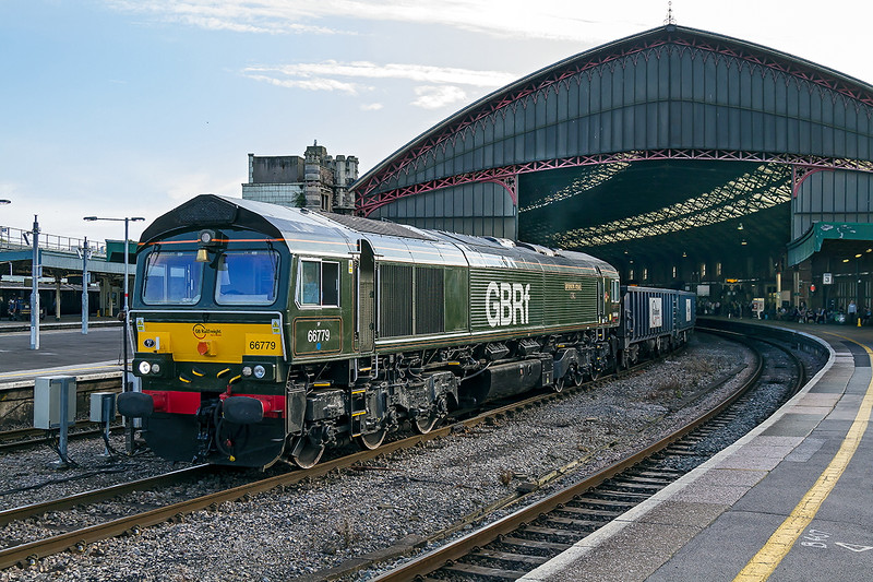 14th Sep 2016; It is 5.43 pm and 66779 'Evening Star' gets underway fron Temple Meads on it's journey to Doncaster Hextorpe with the empty Gyosum boxes frrom Portbury