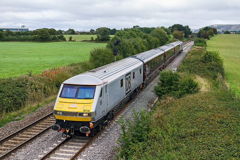 27th Sep 2016:  Leaving Westbury is 1Z05 a DBCargo staff jolly from Victoria to the West Somerset Railway. On the the front is DVT 82146 and the urge is provided by 67029 at the rear. Totally crap light made the iso setting of 1600 esential