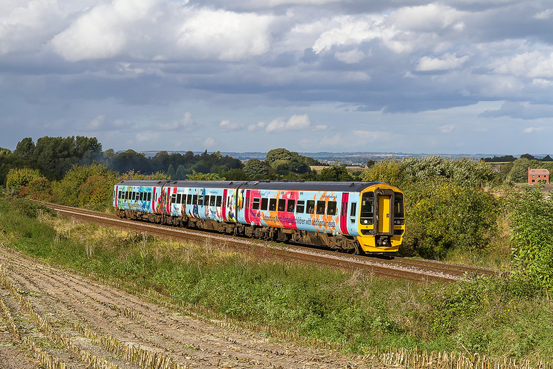 30th Sep 2016:  Iwonder how much longer thisd 'Springboard Charity livery will last.  158798 is forming 1F19  from Bristol Parkway to Portsmouth Harbour. Pictured on the climb though Upton Scudamore