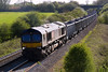 12th Apr 2017:  66718 getting away from Clink  Road Junction with 6M41 from Whatley to Wellingborough