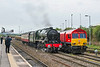 21st Apr 2017:  45100 'Royal Scot' eases up to the starter in the Up Loop at Westbury as it works to Southall from MInehead.   Recently repainted in DBC livery is 66041 currently acting as the yard shunter