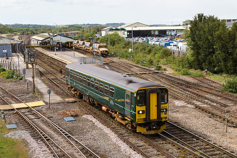 27th Apr 2017:  My first sighting of the green bug as it departs from Westbury with 2M08 the 11.48 to Swindon