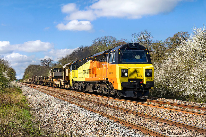 2nd Apr 2017:  Taken at Masters Crossing in Fairwood is my first picture of 70812 doing a propper job.  6C97 is bringing a Long Welded Rail train back to Westbury from Par.  A couple of minutes earlier it was full cloud so luck was with me on this occasion.