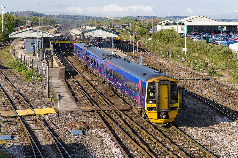16th Apr 2017:  THe 09.02 from Westbury to Swindon, 2Z20, in the hands of 158954 leaves from Platform 2