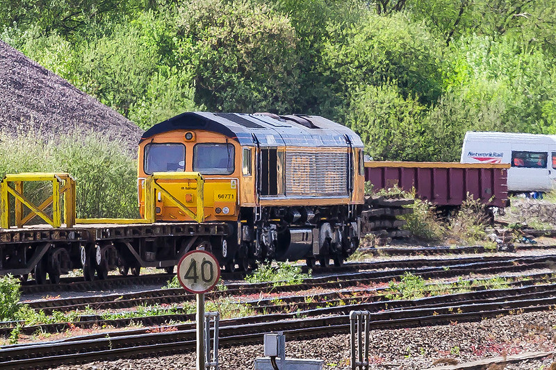 25th Apr 2017: 66771 sitting  at the far end of the Down Yard at Westbury.  It came to Westbury with 66752 as the duo on 0M40.  752 went to Stud Farm as expected and this one to the wilderness.  So far the only shot of all all the loco that I have managed is this one.