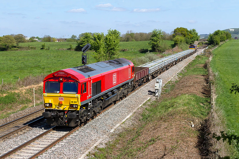 22nd Apr 2017:  Still in beautifull condition after it's repaint 66041 heads wwest with 6W11 the 14.40 from Westbury to Bristol East Junction though the now totally clrear Fairwood
