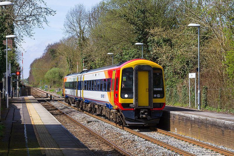 3rd Apr 2017:  2R46 is the 12.56 from Salisbury to Romsey via Eastleigh and Southampton.  At Romsey 158883 will continue the journey to Salisbury as 2S39 at 14.07  where it will run the cycle again