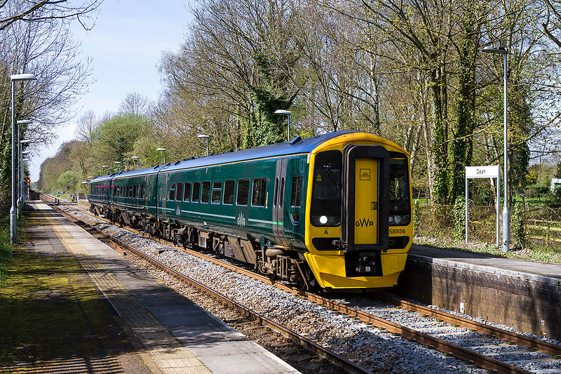 3rd Apr 2017:  158956 is on time as it runs 1F17 the 12.30 from Cardiff to Portsmouth Harbour through Dean on the section between Salisbury and Romsey.