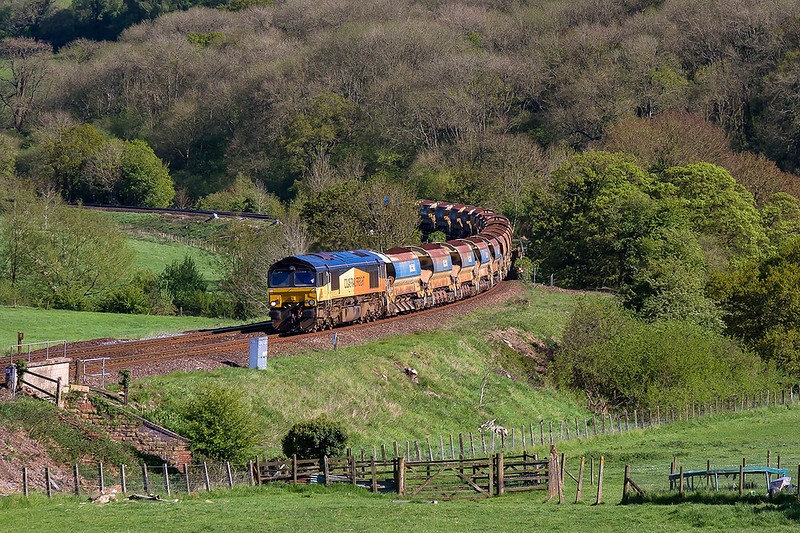 22nd Apr 2017:  With 20 Auto ballasters in tow 6C23 Top n Tailed by 66847 & 66849 is  pictured as it is about to run through Freshford Station.  Starting from Westbury the train is being taken to Bath in connection  with the alterations being undertaken this weekend