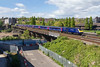 23rd Apr 2017:  Running onei hour late 1B20 the 09.30 Paddington to Carmarthen crossing the River Usk as it arrives at Newport.  THe trailing power car is 43175