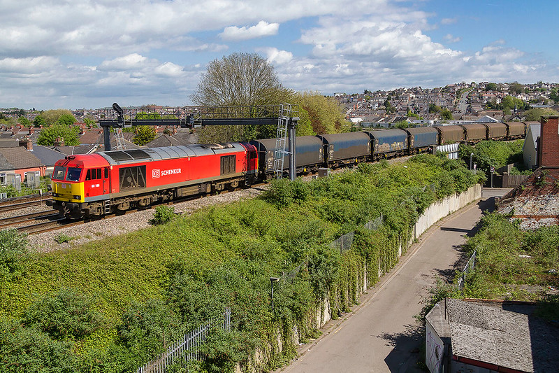 23rd Apr 2017:  60100 is at Maindee West Junction as it returns to Margam with 6H27 from Llanwern Exchange Sidings