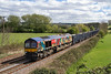 11th Apr 2017:  As expected, as when 6V42 from Wellingborough to Whaley Quarry runs the loco is the same all the week, so 66708 is on the point as it runs down the hill through Great Cheverell.    I don'tr suppose this livery will last much longer as the LT contract has now ended