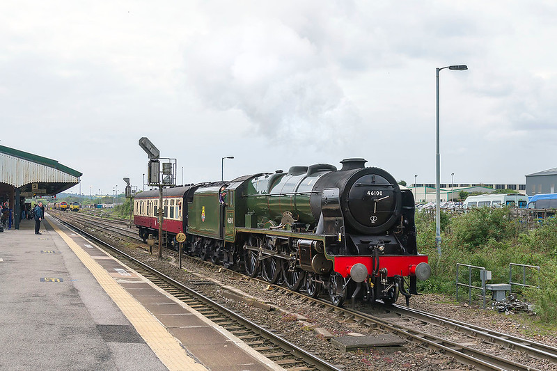 21st Apr 2017:  The pioneer LMS  Royal Scot Class locomotive 46100 'Royal Scot' leaving Westbury as it works from Minehead  on the West Somerset Railway back to Southall.  I  am not quite sure if it can work back light engine it could not be used to pull the booked Cathex as was planned