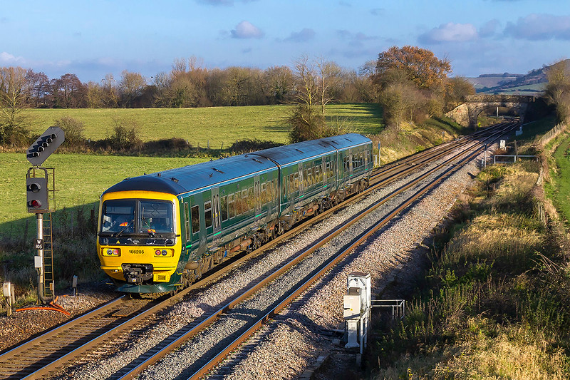 1st December 2017:  GWR ran a test train to Weymouth from Bristol which is believed to be to check all the platform clearances preparing for when the Turbos become the usual fare.  On it's way back to Bristol HST Depot 166205 is pictured at Fairwood