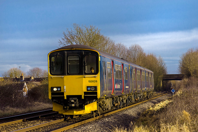 19th Dec 2017:  150926 is working 1F18 the 12.23 from Portsmouth Harbour to Cardiff. at Wylye  The  Portsmouth To Cardiff services are usually  untertaken by class 159 DMUs