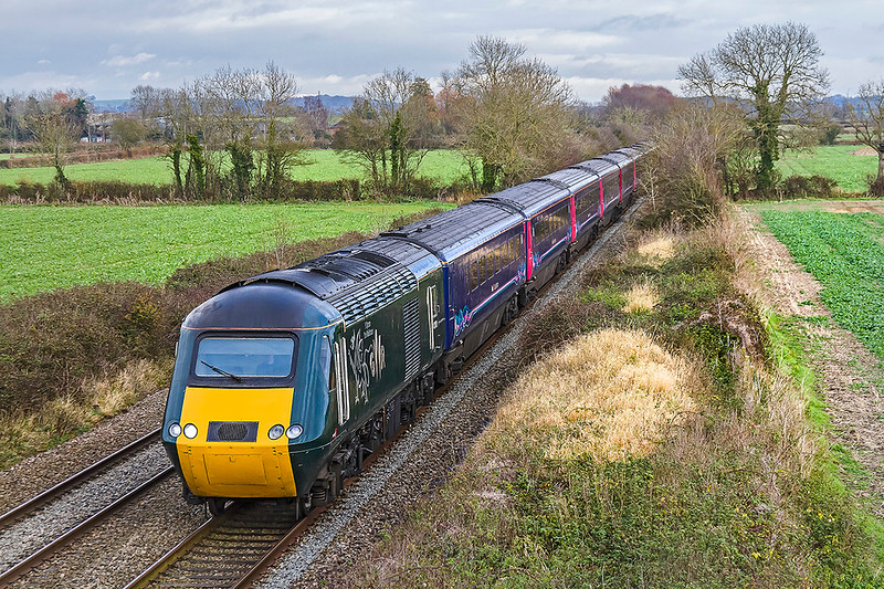 2nd Dec 2017:  43188  with it's Welsh Dragon graphic is leading on 1B40 the  13.35 Paddington to Swansea that is picured passing through the feilds of Baynton Farm at Edington