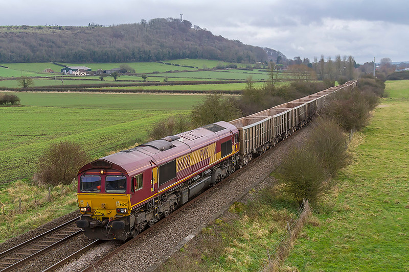 5th Dec 2017:  Starting from Fareham at 11 47 7V16  powered by 66003 is between Warminster and Westbury.  When here it will reverse and travel the final few miles to Whatlry Quarry  which is a few miles to the North West of Frome