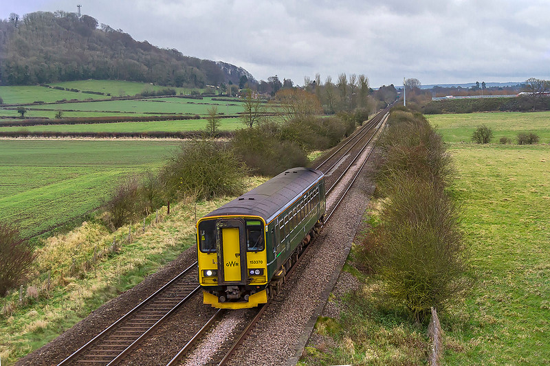 5th Dec 2017:  153370 passes Arne Hill near Warminster as it works 9M98 the 12.27 Southampton to Great Malvern