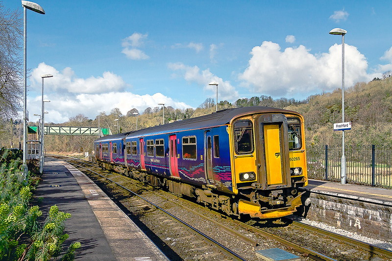 24th Feb 2017:  Thee 10.42 from Gloucester to Weymouth, 2O89, rostered for 150285 calls at Freshford.  Now that the bushes have been removed it is possile to see across thye Avon Valley though the river and canal are still hidden