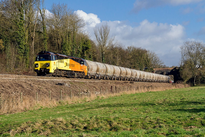 7th Feb 2017:  70810 looking very clean is heading 6C36 the cement empty tanks from Westbury to Aberthaw away from Avoncliff.  The background bridge carries the Kennet & Avon canal ove the River Avon and the railway